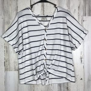 Anthropology | Paper Crane Stripped Tee Large